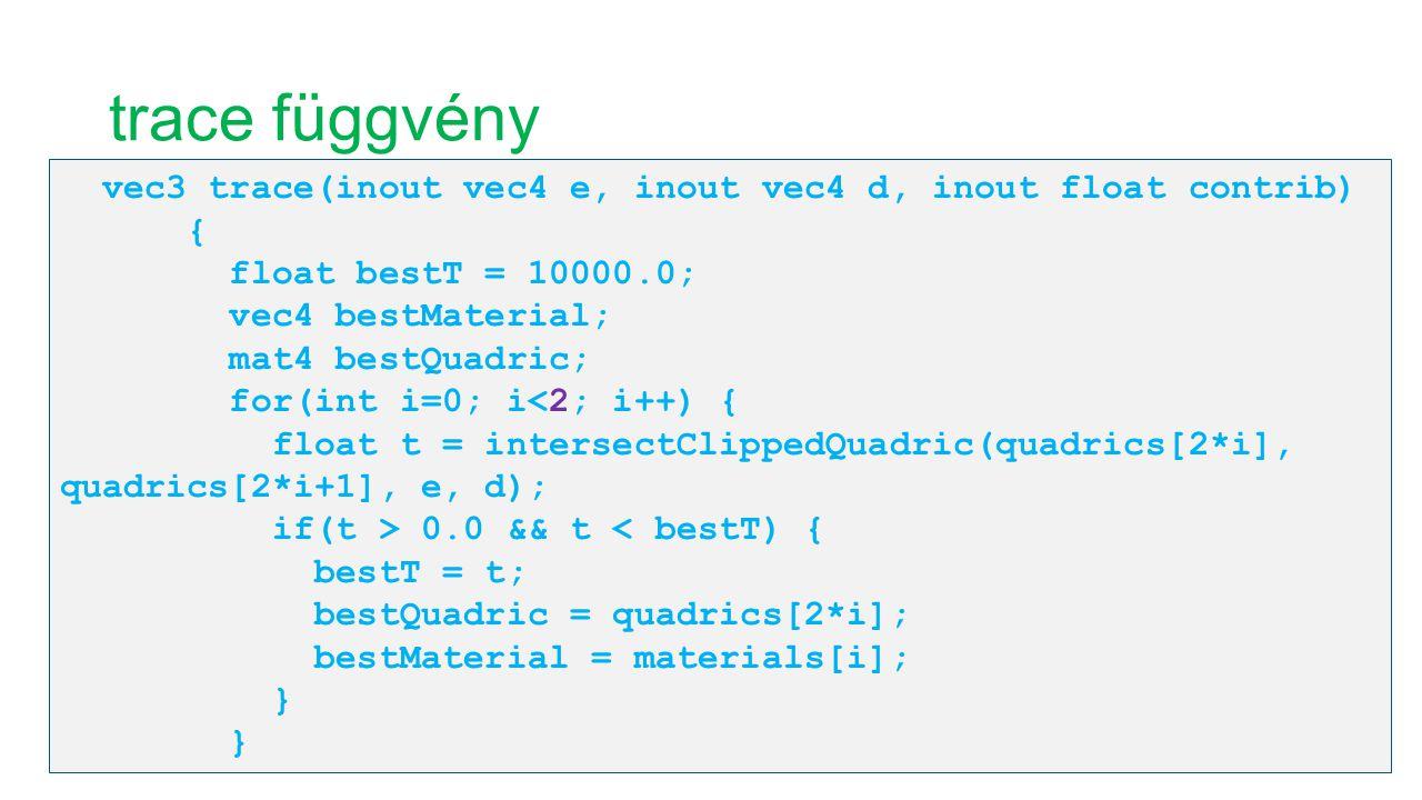trace függvény vec3 trace(inout vec4 e, inout vec4 d, inout float contrib) { float bestT = 10000.0; vec4 bestMaterial; mat4 bestQuadric; for(int i=0;