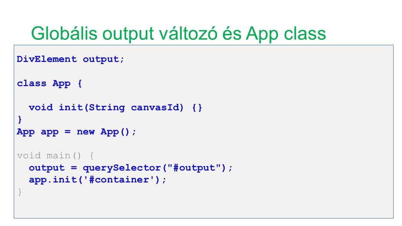 Globális output változó és App class DivElement output; class App { void init(String canvasId) {} } App app = new App(); void main() { output = queryS