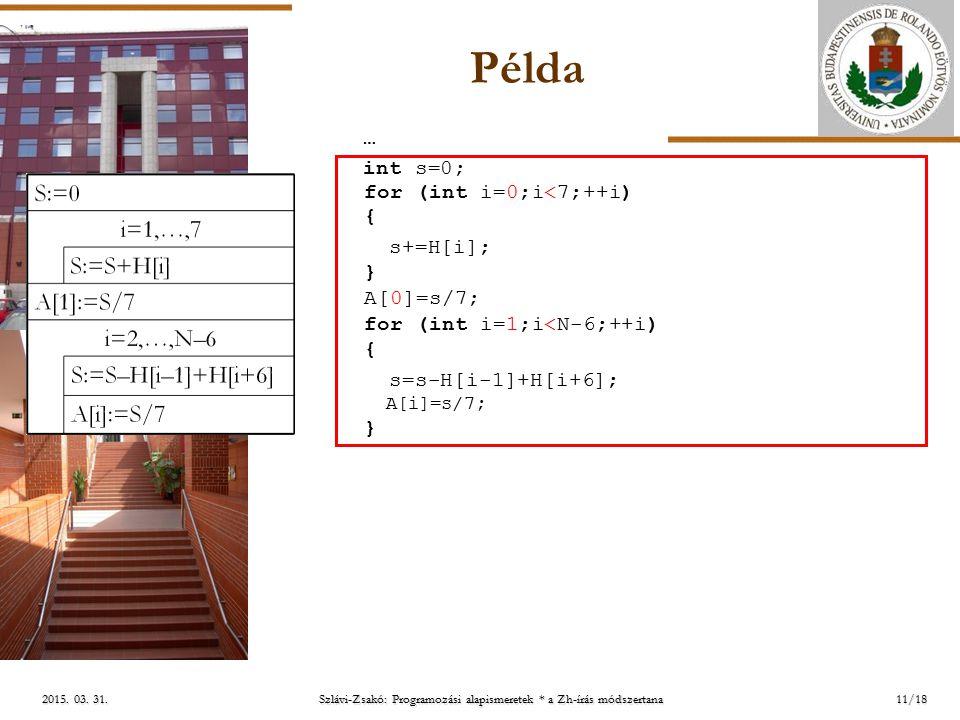 ELTE 2015. 03. 31.2015. 03. 31.2015. 03. 31. Példa 11/18 int s=0; for (int i=0;i<7;++i) { s+=H[i]; } A[0]=s/7; for (int i=1;i<N-6;++i) { s=s-H[i-1]+H[