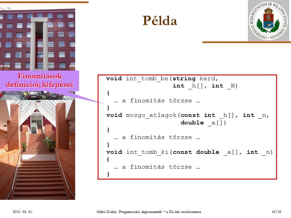 ELTE 2015. 03. 31.2015. 03. 31.2015. 03. 31. Példa 16/18 Finomítások definíciói; kifejtései void int_tomb_be(string kerd, int _h[], int _N) { … a fino