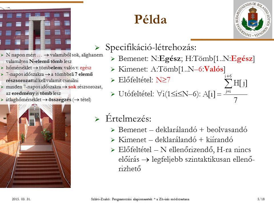 ELTE Szlávi-Zsakó: Programozási alapismeretek * a Zh-írás módszertana 2015. 03. 31.2015. 03. 31.2015. 03. 31. Példa  Specifikáció-létrehozás:  Bemen