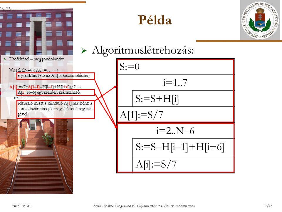 ELTE 2015. 03. 31.2015. 03. 31.2015. 03. 31. Példa  Algoritmuslétrehozás: 7/18  Utófeltétel – meggondolandó:  i(1  i  N–6): A[i]:=…  egy ciklus