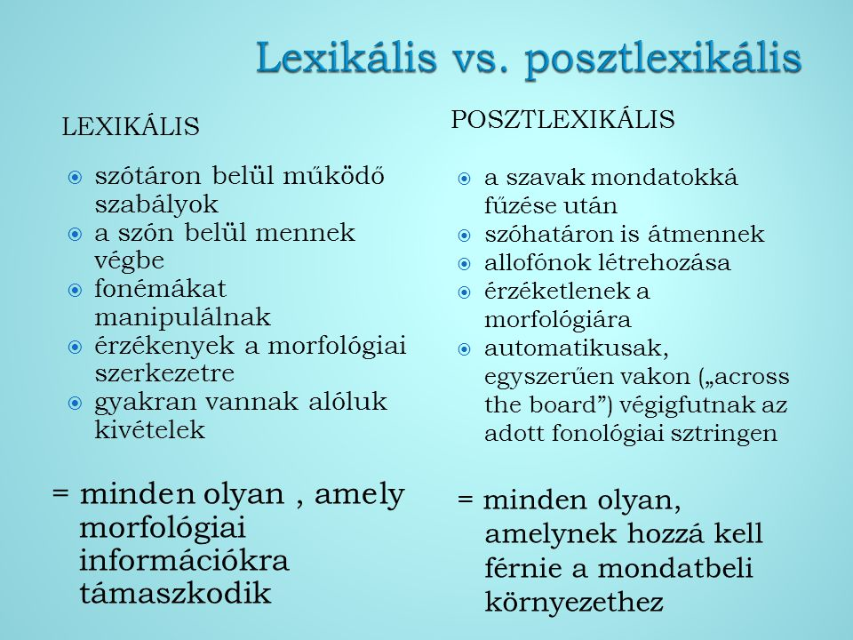 LEXIKÁLIS POSZTLEXIKÁLIS  szótáron belül működő szabályok  a szón belül mennek végbe  fonémákat manipulálnak  érzékenyek a morfológiai szerkezetre