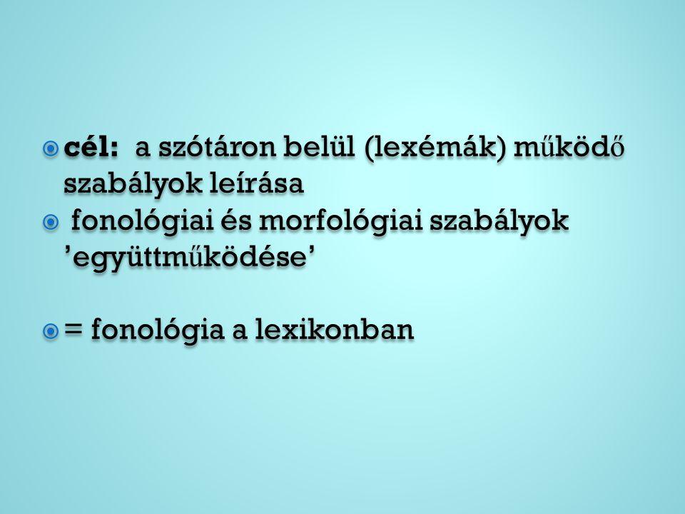  cél: a szótáron belül (lexémák) m ű köd ő szabályok leírása  fonológiai és morfológiai szabályok 'együttm ű ködése'  = fonológia a lexikonban  cé