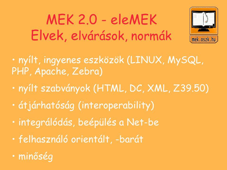 Dokumentumok Gyűjtőkör Válogatás Minőség-ellenőrzés, szövegjavítás Egységesítés, ajánlások (HTML, DOC/RTF) Karakterkódolás (Latin 2 + UNICODE) Formátum változatok (HTML, DOC, RTF, PDF, - e-book, XML) URN alkalmazás