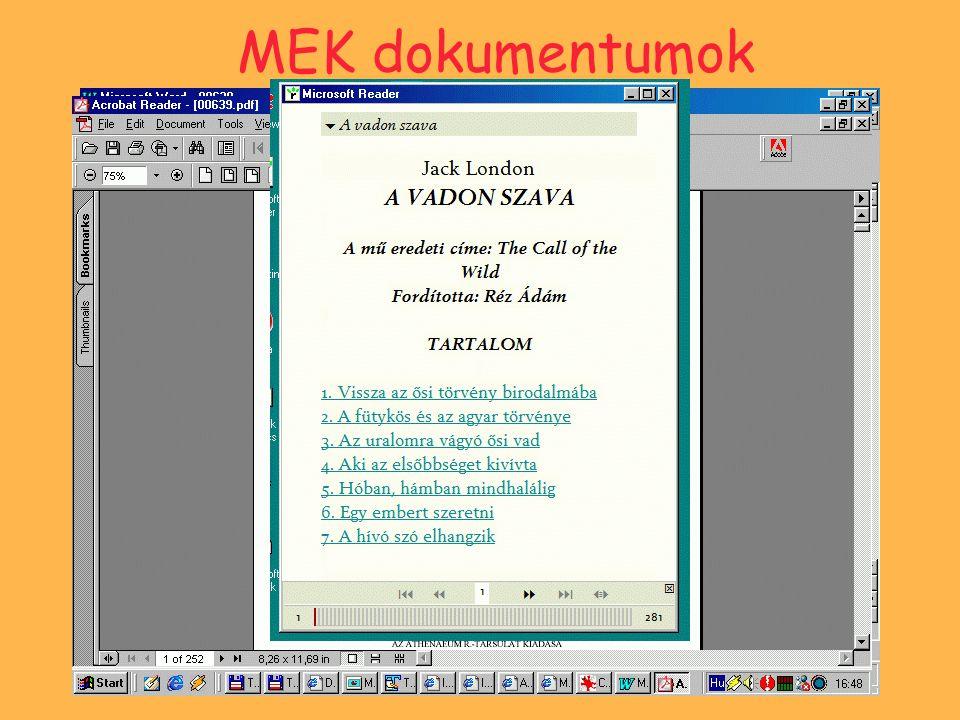 Metaadatok 19 alapadat Katalogizálás - MySQL adatbázis Metaadatok a dokumentum mellett is.