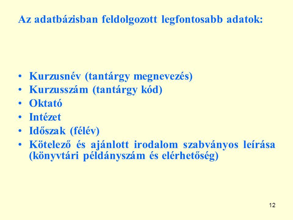 12 Az adatbázisban feldolgozott legfontosabb adatok: Kurzusnév (tantárgy megnevezés) Kurzusszám (tantárgy kód) Oktató Intézet Időszak (félév) Kötelező és ajánlott irodalom szabványos leírása (könyvtári példányszám és elérhetőség)