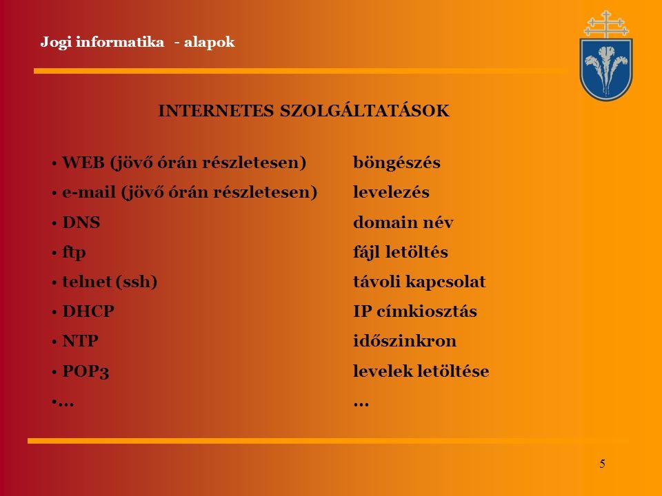 5 INTERNETES SZOLGÁLTATÁSOK WEB (jövő órán részletesen) e-mail (jövő órán részletesen) DNS ftp telnet (ssh) DHCP NTP POP3... böngészés levelezés domai