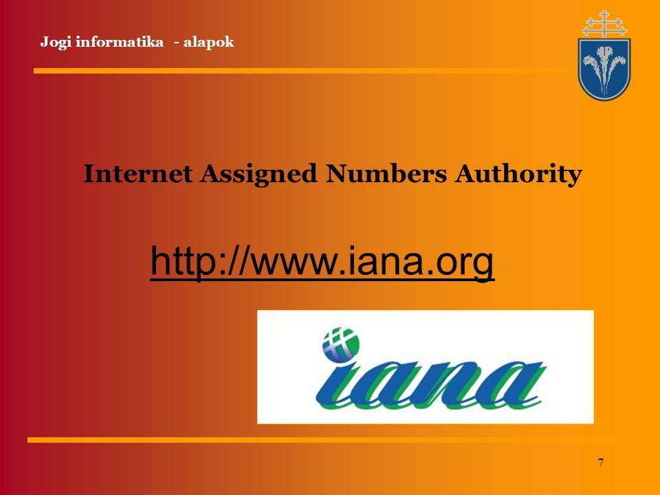 7 Internet Assigned Numbers Authority http://www.iana.org Jogi informatika - alapok