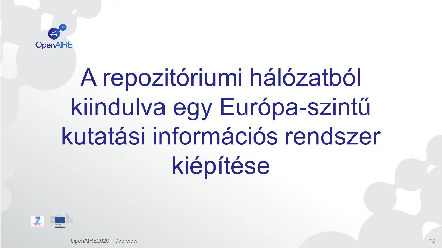 A repozitóriumi hálózatból kiindulva egy Európa-szintű kutatási információs rendszer kiépítése OpenAIRE2020 - Overview10