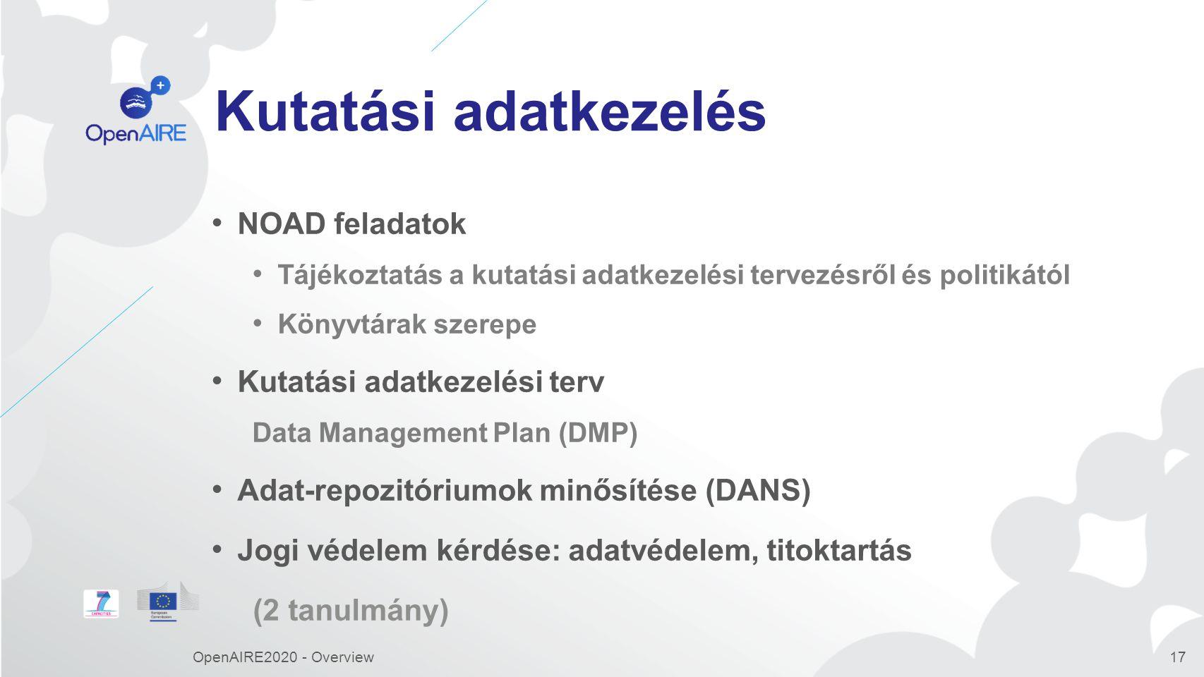 Kutatási adatkezelés NOAD feladatok Tájékoztatás a kutatási adatkezelési tervezésről és politikától Könyvtárak szerepe Kutatási adatkezelési terv Data Management Plan (DMP) Adat-repozitóriumok minősítése (DANS) Jogi védelem kérdése: adatvédelem, titoktartás (2 tanulmány) OpenAIRE2020 - Overview17