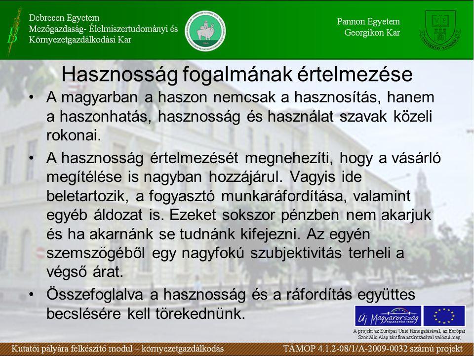 Hasznosság fogalmának értelmezése A magyarban a haszon nemcsak a hasznosítás, hanem a haszonhatás, hasznosság és használat szavak közeli rokonai.