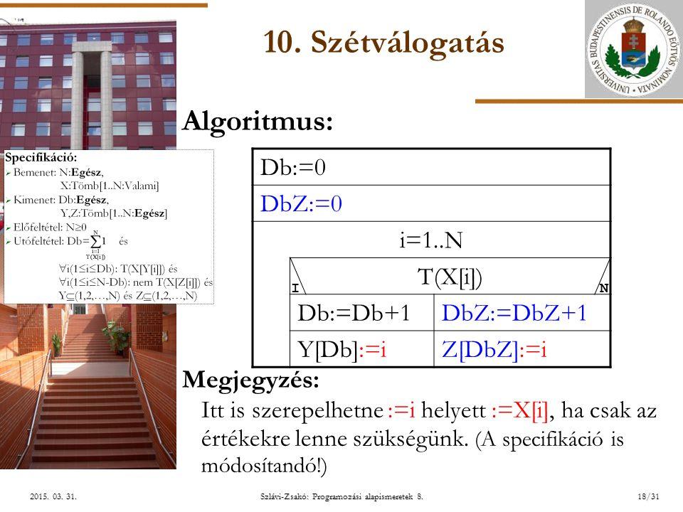 ELTE Szlávi-Zsakó: Programozási alapismeretek 8.18/312015.