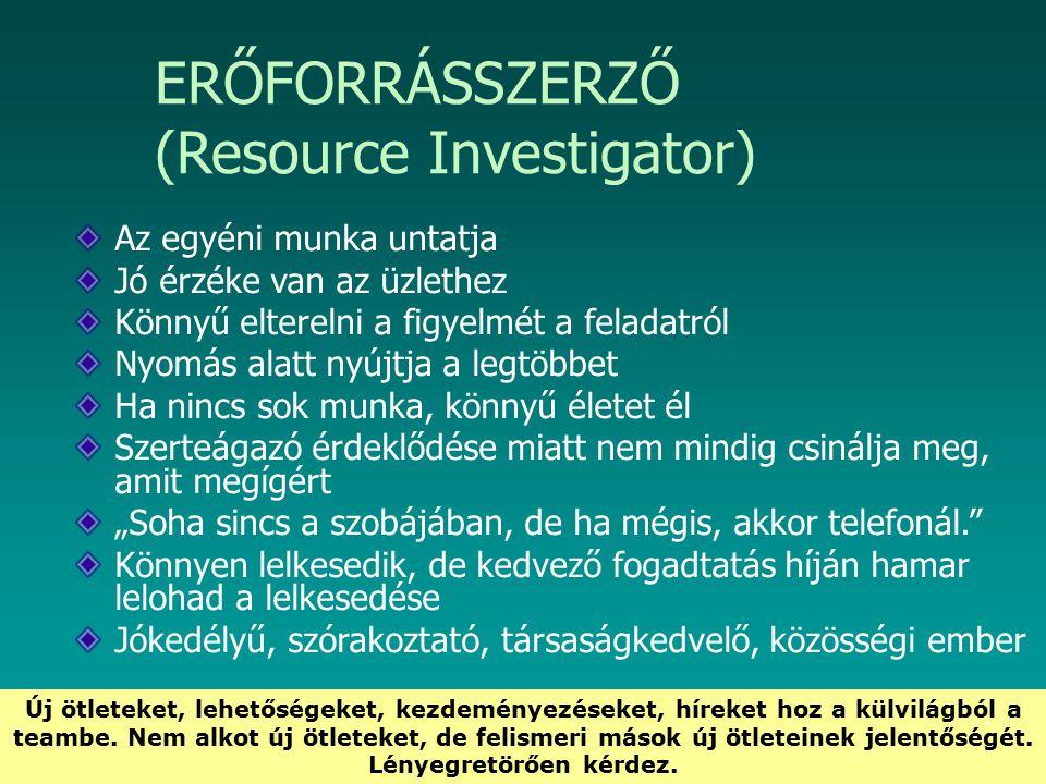 HEFOP 3.3.1. ERŐFORRÁSSZERZŐ (Resource Investigator) Az egyéni munka untatja Jó érzéke van az üzlethez Könnyű elterelni a figyelmét a feladatról Nyomá