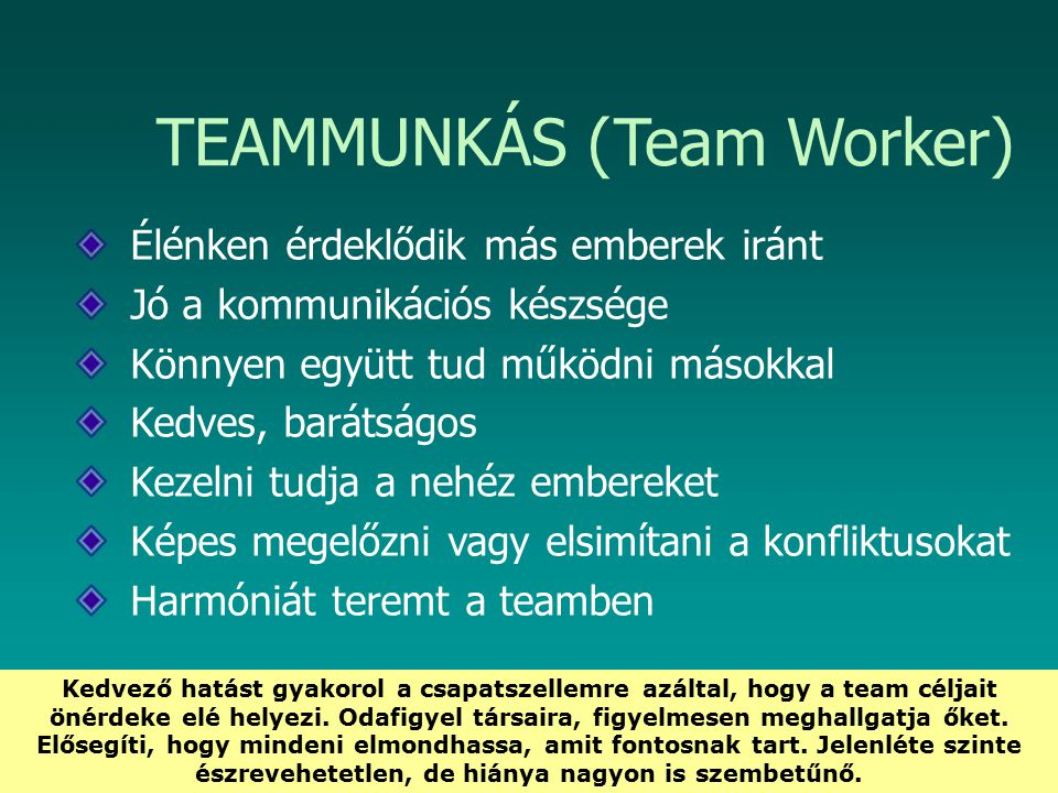 HEFOP 3.3.1. TEAMMUNKÁS (Team Worker) Élénken érdeklődik más emberek iránt Jó a kommunikációs készsége Könnyen együtt tud működni másokkal Kedves, bar