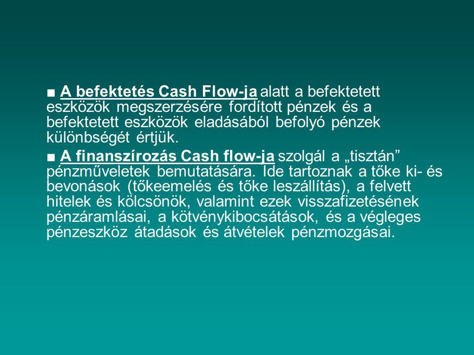 ■ A befektetés Cash Flow-ja alatt a befektetett eszközök megszerzésére fordított pénzek és a befektetett eszközök eladásából befolyó pénzek különbségé