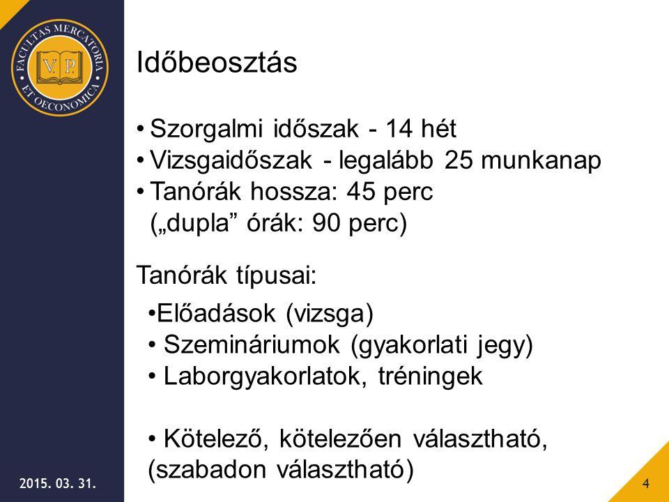 """2015. 03. 31.4 Időbeosztás Szorgalmi időszak - 14 hét Vizsgaidőszak - legalább 25 munkanap Tanórák hossza: 45 perc (""""dupla"""" órák: 90 perc) Tanórák típ"""