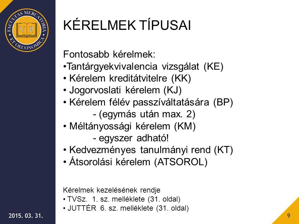 2015. 03. 31.9 KÉRELMEK TÍPUSAI Fontosabb kérelmek: Tantárgyekvivalencia vizsgálat (KE) Kérelem kreditátvitelre (KK) Jogorvoslati kérelem (KJ) Kérelem