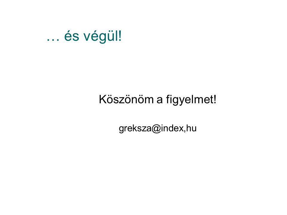 … és végül! Köszönöm a figyelmet! greksza@index,hu