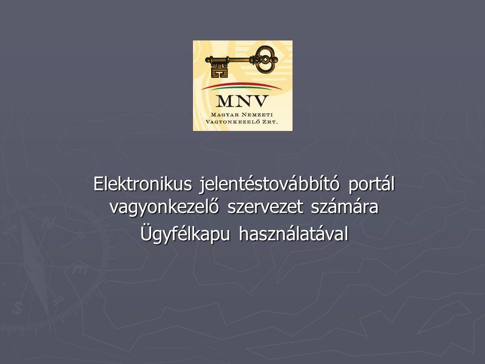 Elektronikus jelentéstovábbító portál vagyonkezelő szervezet számára Ügyfélkapu használatával