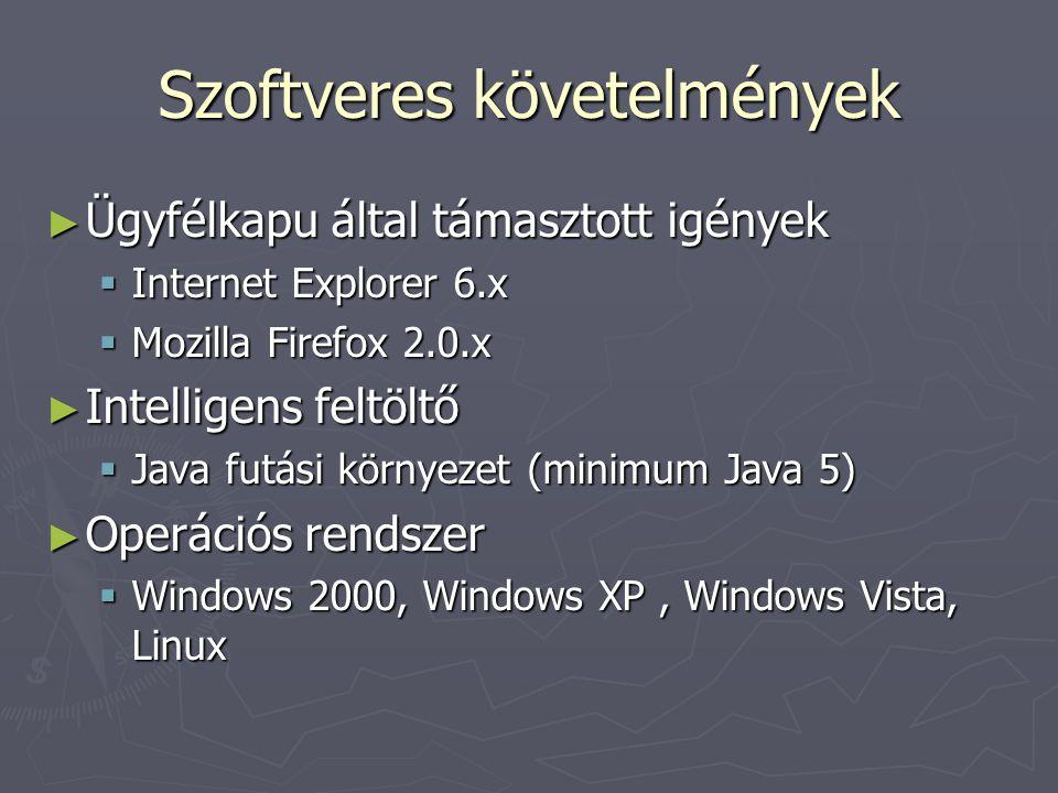 Szoftveres követelmények ► Ügyfélkapu által támasztott igények  Internet Explorer 6.x  Mozilla Firefox 2.0.x ► Intelligens feltöltő  Java futási környezet (minimum Java 5) ► Operációs rendszer  Windows 2000, Windows XP, Windows Vista, Linux