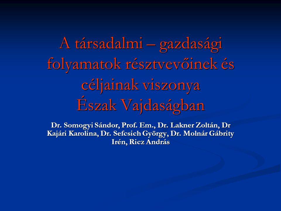 A társadalmi – gazdasági folyamatok résztvevőinek és céljainak viszonya Észak Vajdaságban Dr.