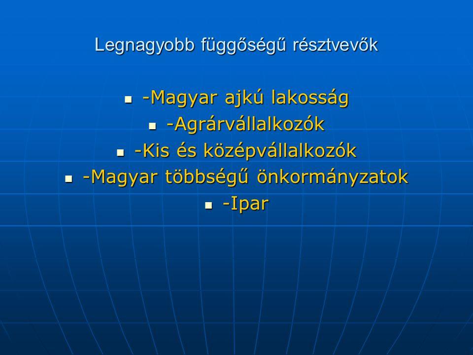 Legnagyobb függőségű résztvevők -Magyar ajkú lakosság -Magyar ajkú lakosság -Agrárvállalkozók -Agrárvállalkozók -Kis és középvállalkozók -Kis és középvállalkozók -Magyar többségű önkormányzatok -Magyar többségű önkormányzatok -Ipar -Ipar