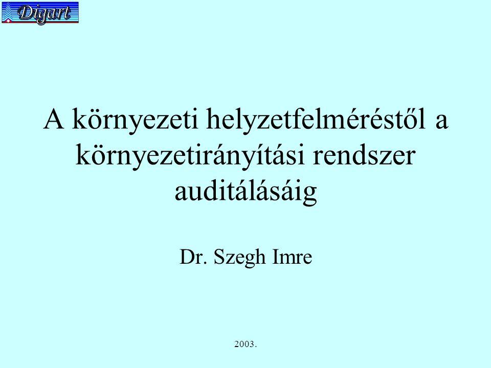 2003. A környezeti helyzetfelméréstől a környezetirányítási rendszer auditálásáig Dr. Szegh Imre
