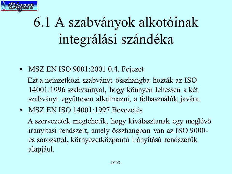2003. 6.1 A szabványok alkotóinak integrálási szándéka MSZ EN ISO 9001:2001 0.4.