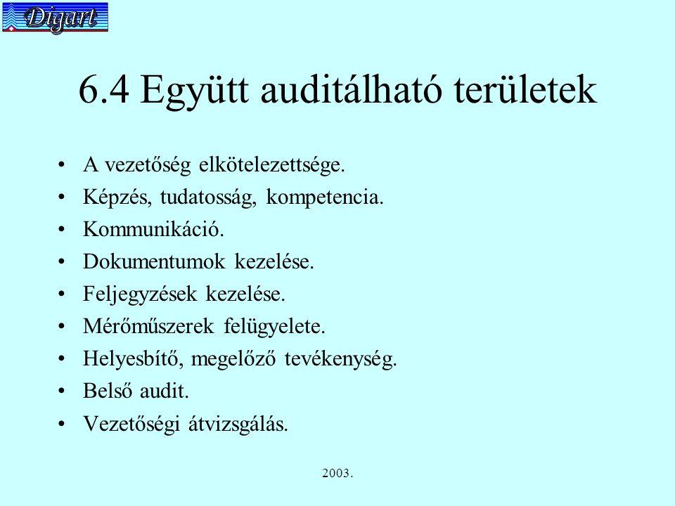 2003. 6.4 Együtt auditálható területek A vezetőség elkötelezettsége.