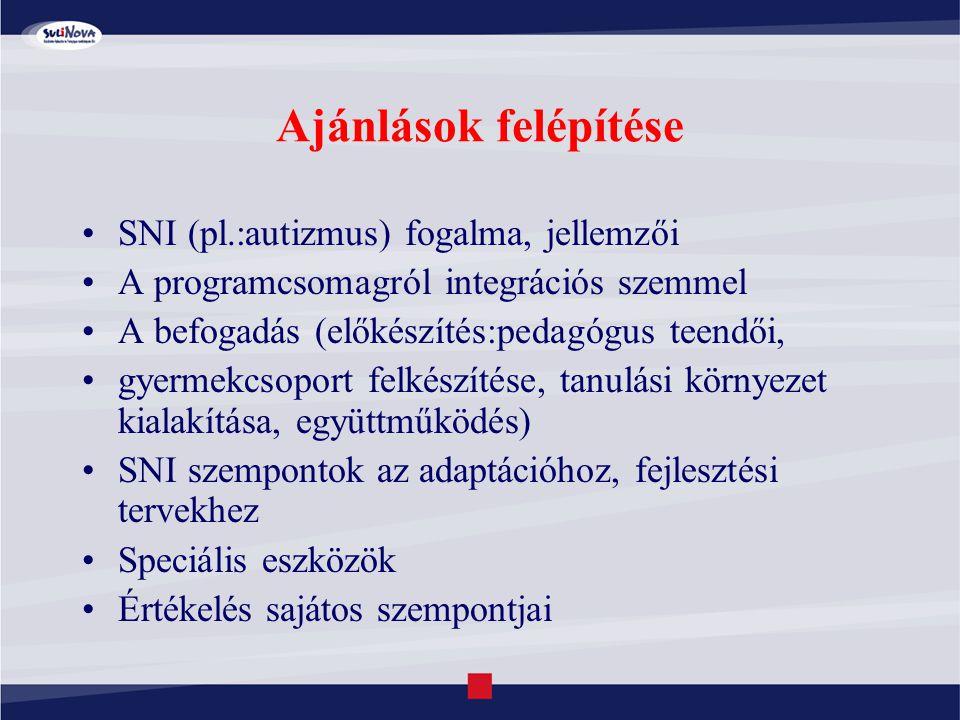 Ajánlások felépítése SNI (pl.:autizmus) fogalma, jellemzői A programcsomagról integrációs szemmel A befogadás (előkészítés:pedagógus teendői, gyermekc
