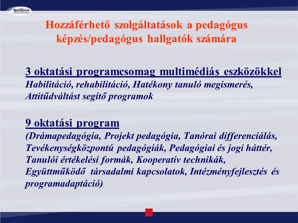Hozzáférhető szolgáltatások a pedagógus képzés/pedagógus hallgatók számára 3 oktatási programcsomag multimédiás eszközökkel Habilitáció, rehabilitáció