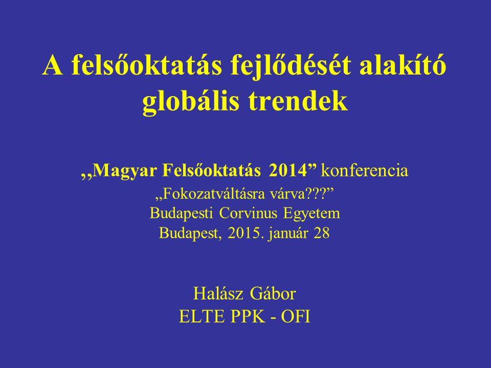 """A felsőoktatás fejlődését alakító globális trendek """" Magyar Felsőoktatás 2014 konferencia """"Fokozatváltásra várva Budapesti Corvinus Egyetem Budapest, 2015."""