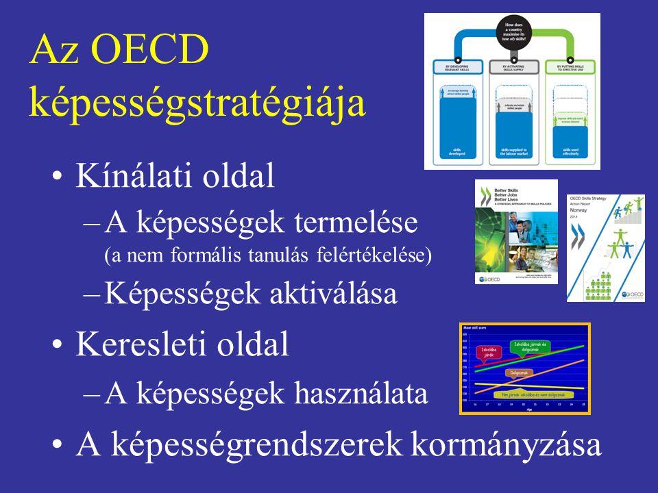 Az OECD képességstratégiája Kínálati oldal –A képességek termelése (a nem formális tanulás felértékelése) –Képességek aktiválása Keresleti oldal –A képességek használata A képességrendszerek kormányzása