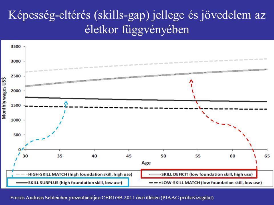 Képesség-eltérés (skills-gap) jellege és jövedelem az életkor függvényében