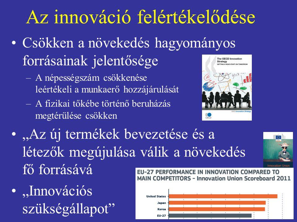 """Az innováció felértékelődése Csökken a növekedés hagyományos forrásainak jelentősége –A népességszám csökkenése leértékeli a munkaerő hozzájárulását –A fizikai tőkébe történő beruházás megtérülése csökken """"Az új termékek bevezetése és a létezők megújulása válik a növekedés fő forrásává """"Innovációs szükségállapot"""