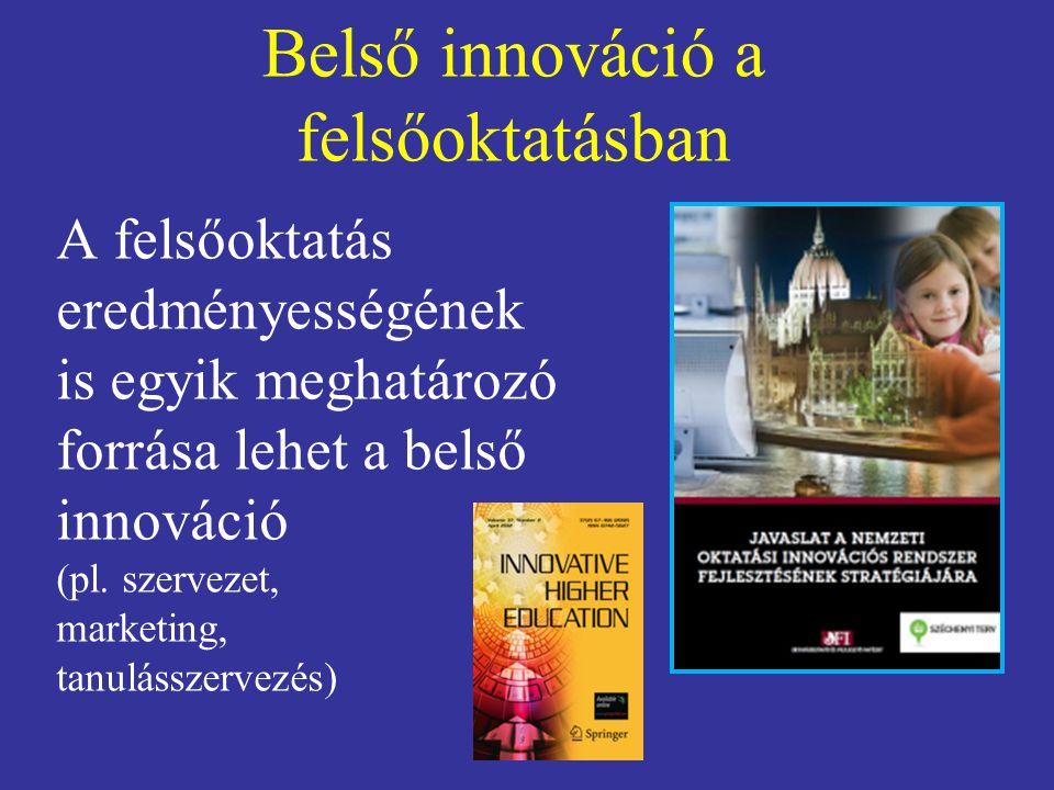 Belső innováció a felsőoktatásban A felsőoktatás eredményességének is egyik meghatározó forrása lehet a belső innováció (pl.