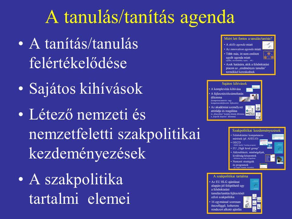 A tanulás/tanítás agenda A tanítás/tanulás felértékelődése Sajátos kihívások Létező nemzeti és nemzetfeletti szakpolitikai kezdeményezések A szakpolitika tartalmi elemei