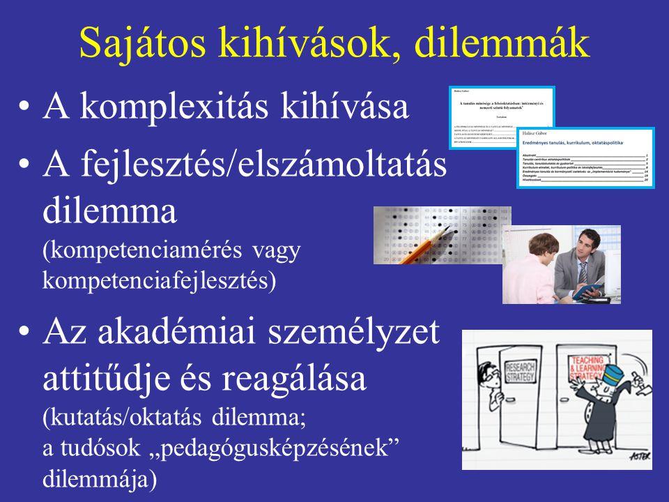 """Sajátos kihívások, dilemmák A komplexitás kihívása A fejlesztés/elszámoltatás dilemma (kompetenciamérés vagy kompetenciafejlesztés) Az akadémiai személyzet attitűdje és reagálása (kutatás/oktatás dilemma; a tudósok """"pedagógusképzésének dilemmája)"""