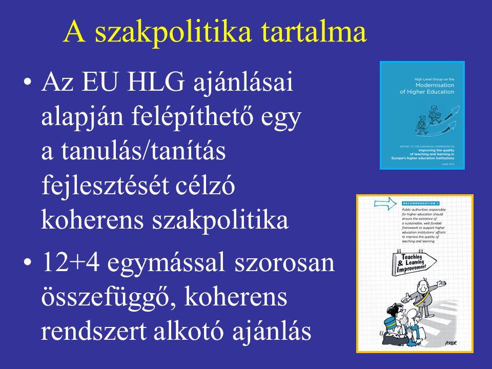 A szakpolitika tartalma Az EU HLG ajánlásai alapján felépíthető egy a tanulás/tanítás fejlesztését célzó koherens szakpolitika 12+4 egymással szorosan összefüggő, koherens rendszert alkotó ajánlás