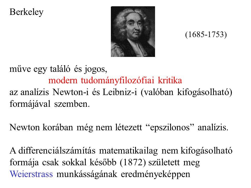 Berkeley (1685-1753) műve egy találó és jogos, modern tudományfilozófiai kritika az analízis Newton-i és Leibniz-i (valóban kifogásolható) formájával szemben.