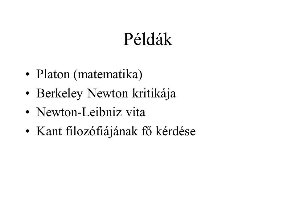 Példák Platon (matematika) Berkeley Newton kritikája Newton-Leibniz vita Kant filozófiájának fő kérdése