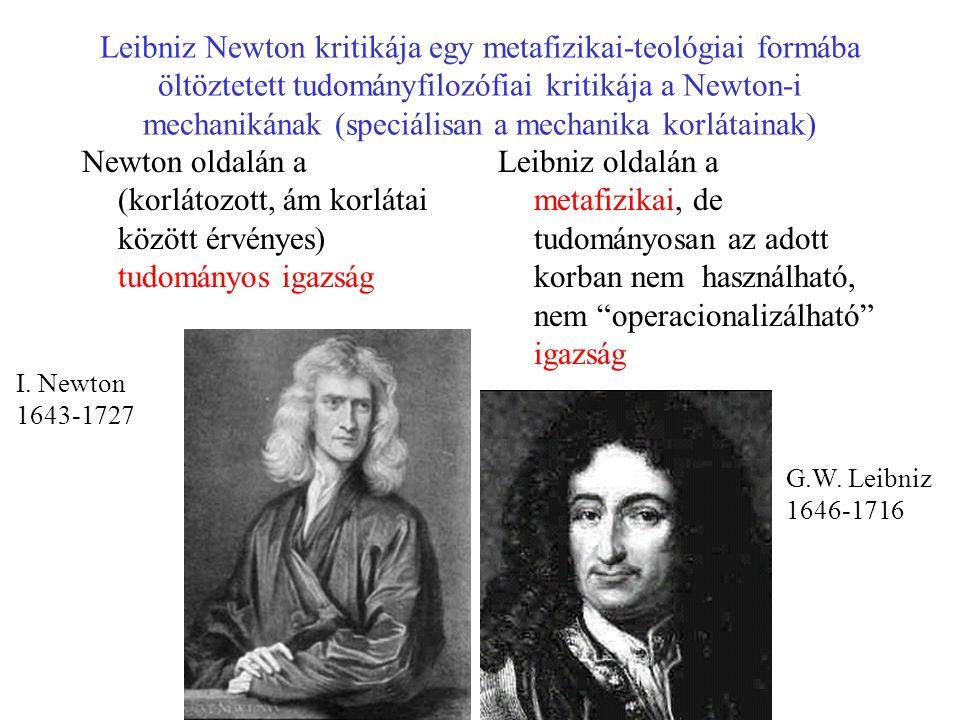 Leibniz Newton kritikája egy metafizikai-teológiai formába öltöztetett tudományfilozófiai kritikája a Newton-i mechanikának (speciálisan a mechanika korlátainak) Newton oldalán a (korlátozott, ám korlátai között érvényes) tudományos igazság Leibniz oldalán a metafizikai, de tudományosan az adott korban nem használható, nem operacionalizálható igazság G.W.