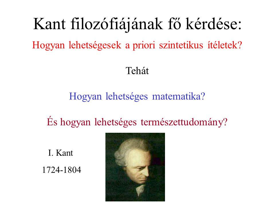 Kant filozófiájának fő kérdése: Hogyan lehetségesek a priori szintetikus ítéletek.