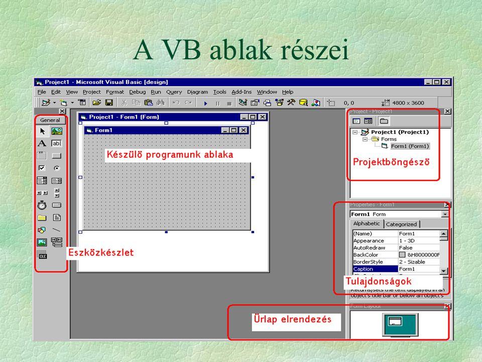 A VB ablak részei