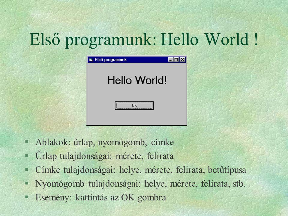 Első programunk: Hello World ! §Ablakok: űrlap, nyomógomb, címke §Űrlap tulajdonságai: mérete, felirata §Címke tulajdonságai: helye, mérete, felirata,