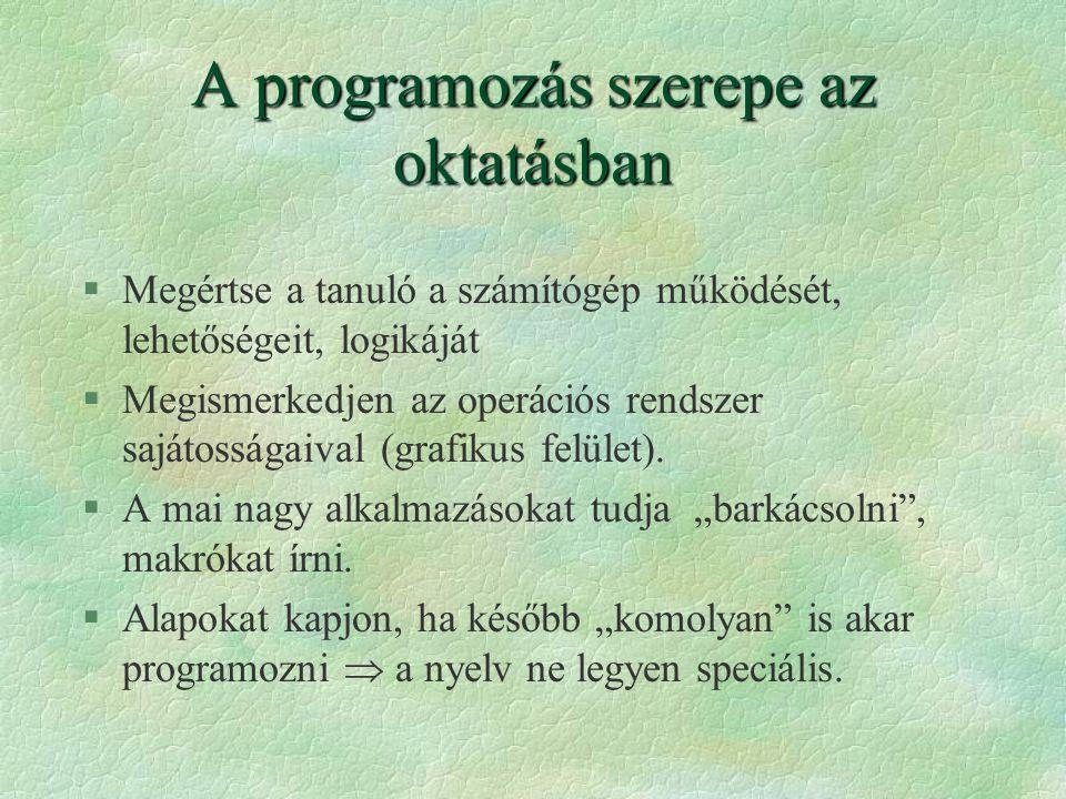 A programozás szerepe az oktatásban §Megértse a tanuló a számítógép működését, lehetőségeit, logikáját §Megismerkedjen az operációs rendszer sajátossá