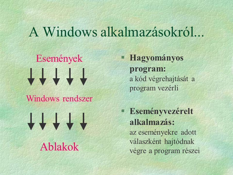A Windows alkalmazásokról... §Hagyományos program: a kód végrehajtását a program vezérli §Eseményvezérelt alkalmazás: az eseményekre adott válaszként