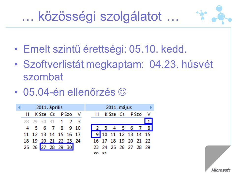 … közösségi szolgálatot … Emelt szintű érettségi: 05.10.