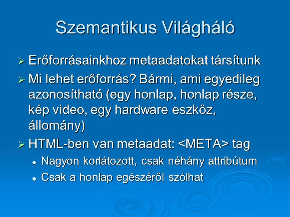 Szemantikus Világháló  Erőforrásainkhoz metaadatokat társítunk  Mi lehet erőforrás.